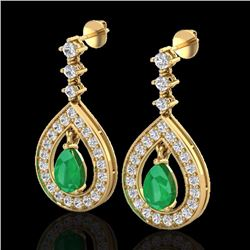 Natural 2.25 CTW Emerald & Micro Pave Diamond Earrings Designer 14K Yellow Gold - 23152-REF#-91G5N