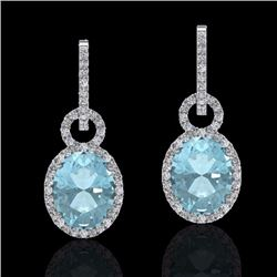 Natural 6 CTW Aquamarine & Micro Pave Solitaire Halo Diamond Earrings 14K White Gold - 22728-REF#-11