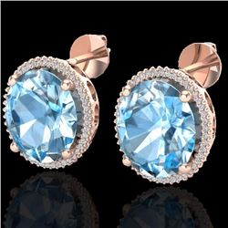 Natural 25 CTW Sky Blue Topaz & Micro Diamond Certified Halo Earrings 14K Rose Gold - 20264-REF#-105