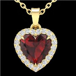 Natural 1 CTW Garnet & Micro Pave Diamond Heart Necklace Heart Halo IN 14K Yellow Gold - 21340-REF#-