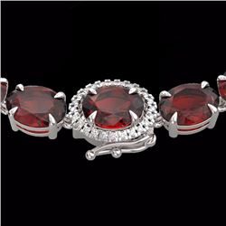 Natural 80 CTW Garnet & Diamond Eternity Tennis Micro Halo Necklace 14K White Gold - 23462-REF#-174Y