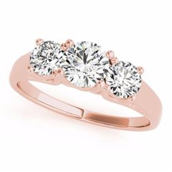 0.50 CTW Certified SI-I Diamond 3 stone Bridal Solitaire  Ring 18K Rose - 28048-#61G7M