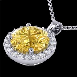Natural 2 CTW Citrine & Halo Diamond Micro Pave Necklace Solitaire 18K White Gold - 21558-REF#-33A7X