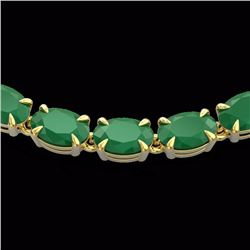 Natural 40 CTW Emerald Eternity Tennis Necklace 14K Yellow Gold - 23374-REF#-169X7T