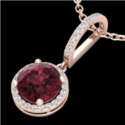 Natural 2.75 CTW Garnet & Micro Pave Diamond Necklace Designer Halo 14K Rose Gold - 23198-REF#-29N8A