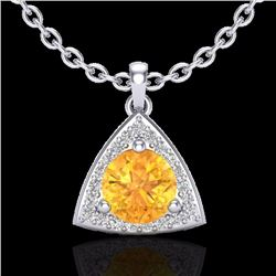 Natural 1.50 CTW Citrine & Micro Pave Halo Solitaire Diamond Necklace 18K White Gold - 20521-REF#-35