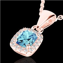 Natural 1.25 CTW Sky Blue Topaz & Micro Diamond Certified Halo Necklace 10K Rose Gold - 22893-REF#-1