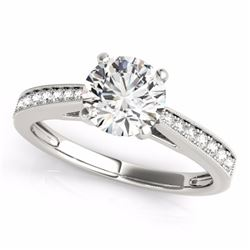 0.40 CTW Certified SI-I Diamond Solitaire Bridal  Ring 18K White Gold - 27621-#52T4Z