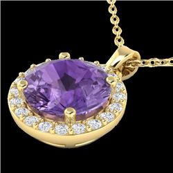 Natural 2 CTW Amethyst & Halo Diamond Micro Pave Necklace Solitaire 18K Yellow Gold - 21550-REF#-35F