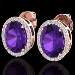 Natural 5.50 CTW Amethyst & Micro Diamond Halo Solitaire Earrings Ring 14K Rose Gold - 20236-REF#-54