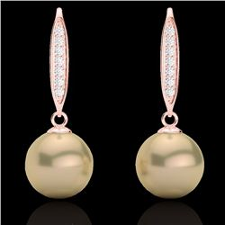 Natural .18 CTW Micro Pave Diamond Certified & Golden Pearl Designer Earrings 14K Rose Gold - 22633-