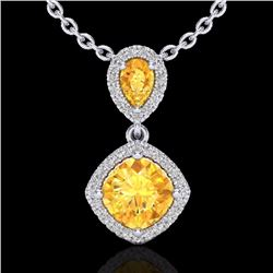 Natural 2.63 CTW Citrine & Micro Diamond Certified Necklace Designer Halo 10K White Gold - 20542-REF