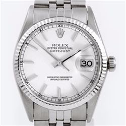 Pre-owned Excellent Condition Authentic Rolex Quickset Men's Stainless Steel DateJust White Dial Wat
