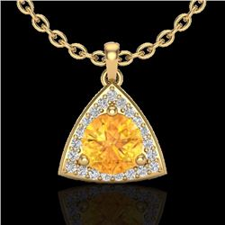Natural 1.50 CTW Citrine & Micro Pave Halo Solitaire Diamond Necklace 18K Yellow Gold - 20522-REF#-3