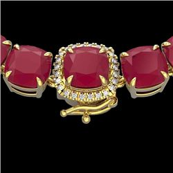 Natural 116 CTW Ruby & Diamond Halo Micro Pave Necklace 14K Yellow Gold - 23360-REF#-374G2N