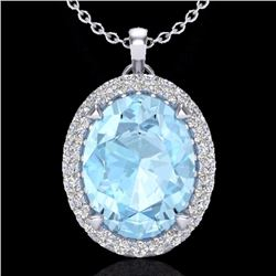 Natural 2.75 CTW Aquamarine & Micro Diamond Halo Solitaire Necklace 18K White Gold - 20579-REF#-53M5