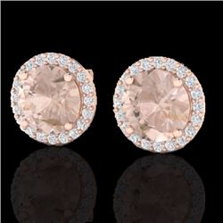 Natural 3 CTW Morganite & Halo Diamond Micro Pave Earrings Solitaire 14K Rose Gold - 21496-REF#-65Z3