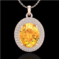 Natural 4 CTW Citrine & Micro Pave Diamond Certified Necklace 14K Rose Gold - 20559-REF#-60G7N