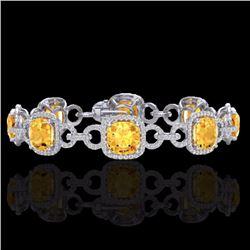 Natural 30 CTW Citrine & Micro Diamond Certified Bracelet 14K White Gold - 23018-REF#-267A7X