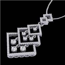 Natural 1.50 CTW Micro Pave Diamond Certified Necklace Dangling 14K White Gold - 22493-REF#-107T5K