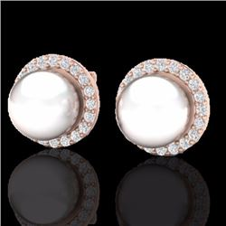 Natural .50 CTW Micro Pave Halo Diamond Certified & White Pearl Earrings 14K Rose Gold - 21505-REF#-