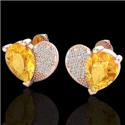 Natural 2.50 CTW Citrine & Micro Pave Diamond Certified Earrings 10K Rose Gold - 20069-REF#-25T5K