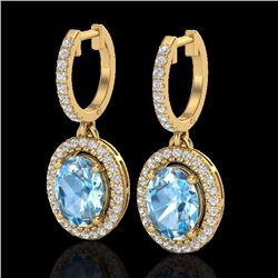 Natural 4.25 CTW Sky Blue Topaz & Micro Diamond Earrings Solitaire Halo 18K Yellow Gold - 20318-REF#