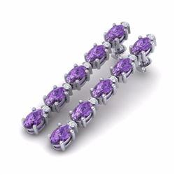 15.47 CTW AMETHYST & DIAMOND SI-I CERTIFIED TENNIS EARRINGS - 29469-#64X2T