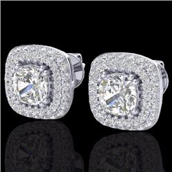 Natural 3.5 CTW Micro Pave Diamond Earrings Solitaire Double Halo 18K White Gold - 20342-REF#-171W9G