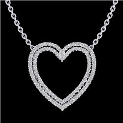 Natural 2 CTW Diamond Certified Double Heart Halo Designer Necklace 14K White Gold - 20481-REF#-92M7