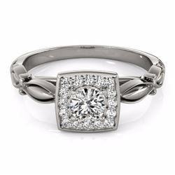 0.55 CTW Certified SI-I Diamond Bridal Solitaire Halo Ring 18K White - 26254-#70V7A