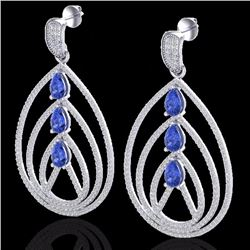 Natural 4 CTW Tanzanite & Micro Pave Diamond Certified Designer Earrings 18K White Gold - 22461-REF#