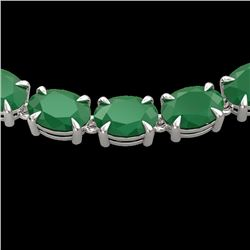 Natural 68 CTW Emerald Eternity Designer Inspired Tennis Necklace 14K White Gold - 23401-REF#-215G3N