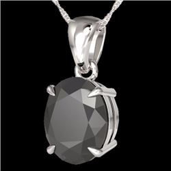 Natural 5 CTW Black Diamond Certified Designer Solitaire Necklace 18K White Gold - 21855-REF#-85R2H