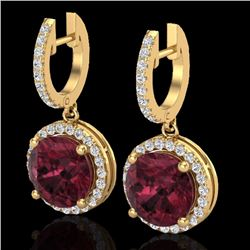 Natural 5.50 CTW Garnet & Micro Pave Diamond Certified Designer Halo 18K Yellow Gold - 23185-REF#-64