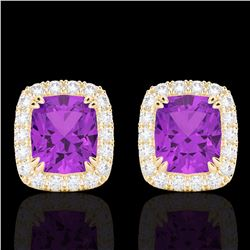 Natural 2.50 CTW Amethyst & Micro Pave Diamond Certified Halo Earrings 10K Yellow Gold - 22857-REF#-