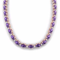 46.50 CTW AMETHYST & DIAMOND SI-I CERTIFIED ETERNITY TENNIS NECKLACE - 29414-#198H3R