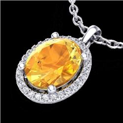 Natural 2.50 CTW Citrine & Micro Pave Diamond Certified Necklace Halo 18K White Gold - 21076-REF#-38