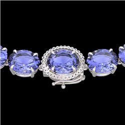 Natural 127 CTW Tanzanite & Diamond Halo Micro Eternity Necklace 14K White Gold - 22317-REF#-2100X2A