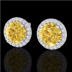 Natural 4 CTW Citrine & Halo Diamond Micro Pave Earrings Solitaire 18K White Gold - 21486-REF#-50X7T