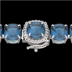 Natural 35 CTW London Blue Topaz & Micro Diamond Halo Bracelet 14K White Gold - 23330-REF#-130R2H