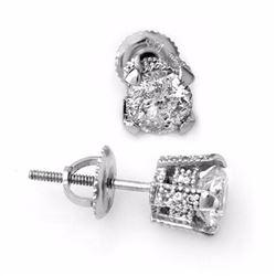 Genuine 1.0 ctw Diamond Solitaire Stud Earrings 14K White Gold - 10503-#86V5A