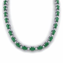 55.50 CTW EMERALD & DIAMOND SI-I CERTIFIED ETERNITY TENNIS NECKLACE - 29422-#213N3G