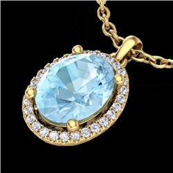 Natural 2.50 CTW Aquamarine & Micro Diamond Certified Necklace Halo 18K Yellow Gold - 21071-REF#-48H