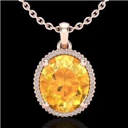 Natural 10 CTW Citrine & Micro Pave Diamond Certified Halo Necklace 14K Rose Gold - 20606-REF#-70M2F