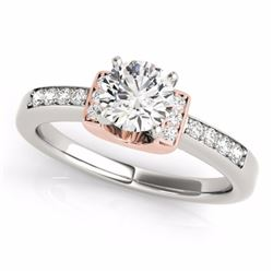 0.61 CTW Certified SI-I Diamond Solitaire Bridal  Ring 18K Two Tone Gold - 27438-#95N5F