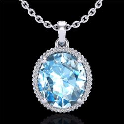 Natural 12 CTW Sky Blue Topaz & Micro Diamond Certified Halo Necklace 18K White Gold - 20604-REF#-78