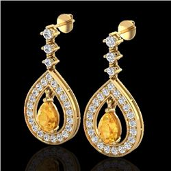 Natural 2.25 CTW Citrine & Micro Pave Diamond Earrings Designer 14K Yellow Gold - 23150-REF#-91A5X