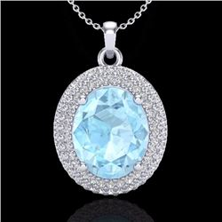 Natural 4 CTW Aquamarine & Micro Pave Diamond Certified Necklace 18K White Gold - 20554-REF#-86N9A