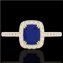 Natural 1.25 CTW Sapphire & Micro Pave Diamond Certified Halo Ring 10K Yellow Gold - 22911-REF#-25N8